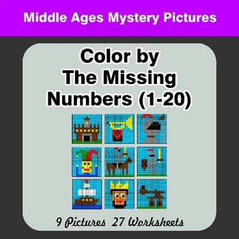 Missing Numbers 1-20 - Color By Number - Middle Ages Math Mystery Pictures