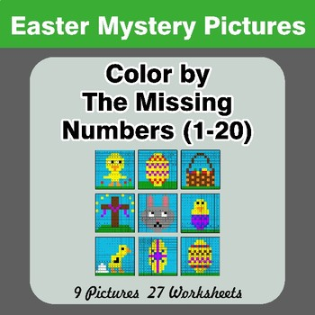 Missing Numbers 1-20 - Easter Color By Number - Math Mystery Pictures