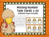 Missing Numbers 1-20 Editable Turkey Task Cards