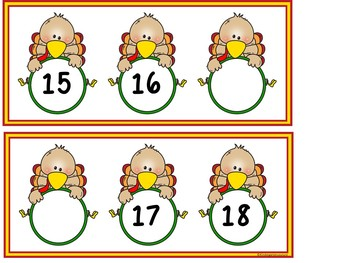 Missing Numbers 1-20 Editable Turkey Task Cards