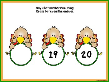Missing Numbers 1-20 Erase & Reveal For Smart Board (Turkey Theme)