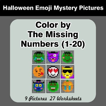 Missing Numbers 1-20 - Halloween Emoji Color By Number - Math Mystery Pictures