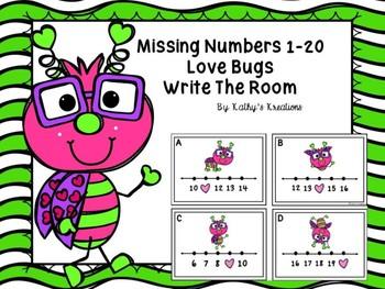 Missing Numbers 1-20 Love Bugs