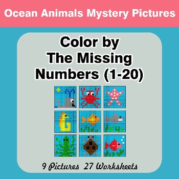 Missing Numbers 1-20 - Ocean Animals Color By Number - Math Mystery Pictures