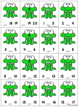 Missing Numbers 1-20 Roll, Say, Keep Frog Theme