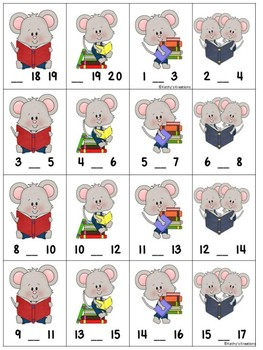 Missing Numbers 1-20 Roll, Say, Keep Mouse Readers
