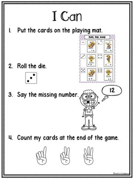 Missing Numbers 1-20 Roll, Say, Keep Rainy Day