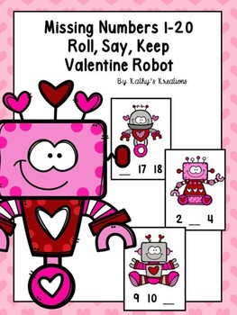 Missing Numbers 1-20 Roll, Say, Keep Valentine Robots