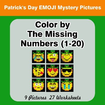 Missing Numbers 1-20 -  St. Patrick's Day Emoji Color By Number