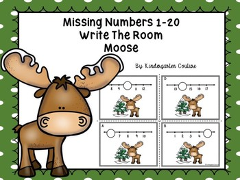 Missing Numbers 1-20 Task Cards -Moose