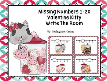 Missing Numbers 1-20 Task Cards Valentine Kitty