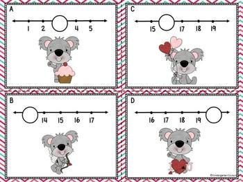Missing Numbers 1-20 Task Cards Valentine Koalas
