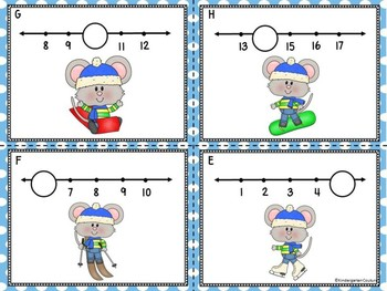Missing Numbers 1-20 Task Cards Winter Mouse