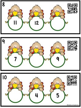 Missing Numbers 1-20 Turkeys (QR Code Ready)