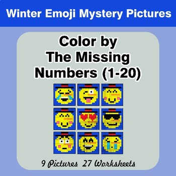 Missing Numbers 1-20 -  Winter Snowman Emoji Color By Number