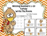 Missing Numbers 1-20 Write The Room -Turkeys