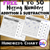 FREE Hundreds Chart Missing Numbers 1 to 50 Worksheets