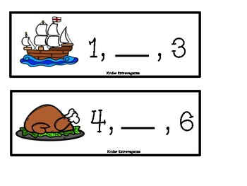 Missing Numbers 1 to 10 Thanksgiving Theme