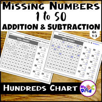 Hundreds Chart Missing Numbers 1 to 50 Worksheets