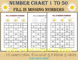 Missing Numbers to 50 / Worksheets for Kindergarten & Preschool Worksheets
