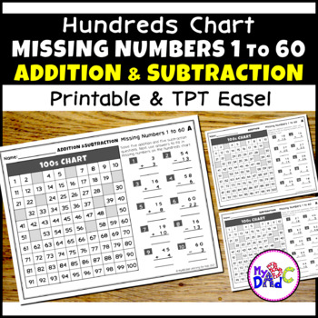 Missing Numbers 1 to 60 Hundreds Chart Math Worksheets