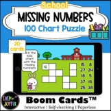 1st Grade Math Boom Cards™ | Missing Numbers 100 Chart Puzzle (School Theme)