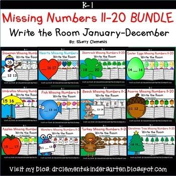 Missing Numbers 11-20 Write the Room BUNDLE
