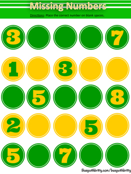 St. Patrick's Day Missing Numbers