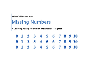 Missing Numbers, A Counting Activity