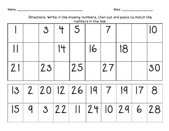 Missing Numbers Activities/Cut and Paste/ 1-30 | TpT
