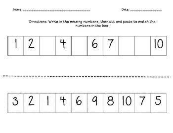 Missing Numbers Activities/Cut and Paste/ 1-30