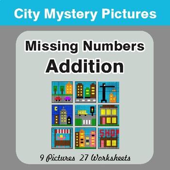 Missing Numbers Addition - Color-By-Number Math Mystery Pictures