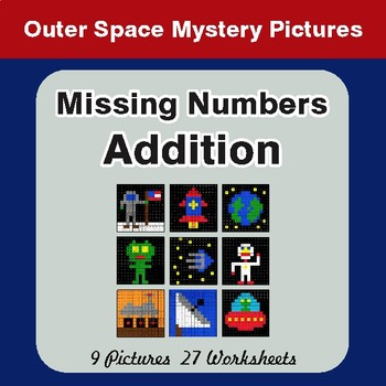 Missing Numbers Addition - Color By Number Math Mystery Pictures