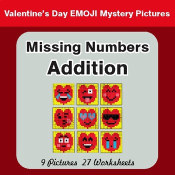Valentine's Day: Missing Numbers Addition - Color By Number Math Mystery Pictures