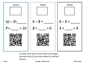 Missing Numbers Addition and Subtraction with QR Codes