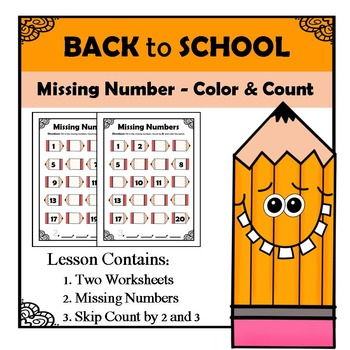 Kindergarten Math Patterns - Missing Numbers - Back to School