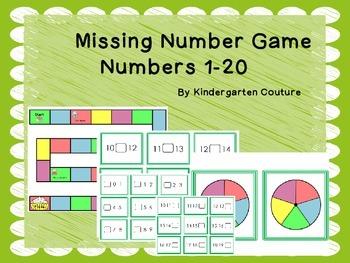 Missing Numbers Board Game Numbers 1 - 20