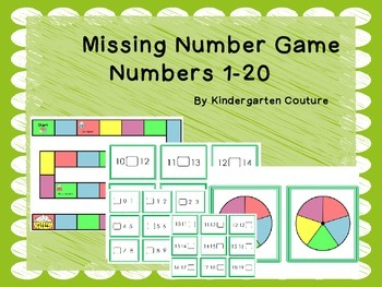 Missing Numbers Board Game Numbers 1 - 20