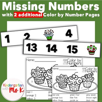 Missing Numbers Center with Color by Number Pages (Winter Treats Edition)