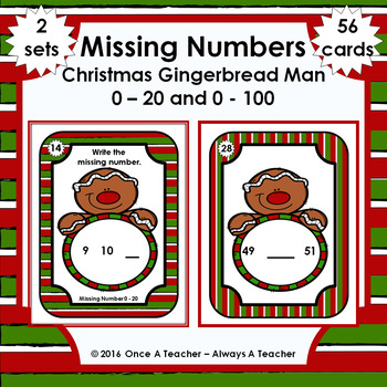 Missing Numbers  •  Christmas Gingerbread Man