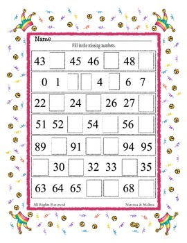 Missing Numbers - Counting ~ One Work Sheet ~ Many Seasons / Holidays