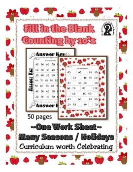 Missing Numbers ~ Counting by 10 Work Sheet ~ Thanksgiving