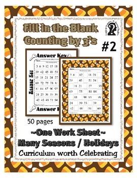 Missing Numbers ~ Counting by 3 Worksheet #2  Hanukkah Kwanzaa Christmas No Prep