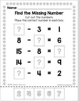 Missing Numbers - Cut and Paste Activity - 1.OA.8