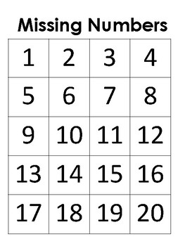 Missing Numbers-Different Levels-Counting Backwards and Forwards