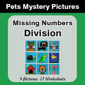 Missing Numbers Division - Color-By-Number Math Mystery Pictures