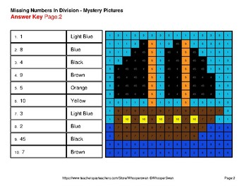 Missing Numbers Division - Color-By-Number Mystery Pictures