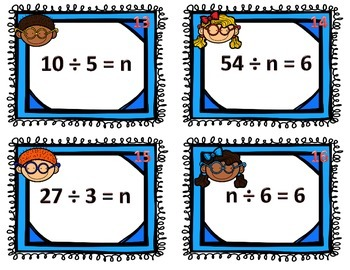 Missing Numbers Division Scoot / Task Cards