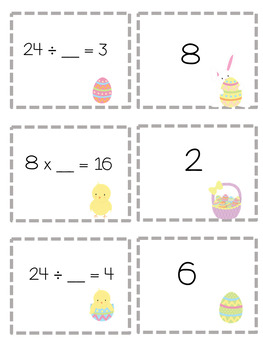 Missing Numbers Easter Math Game