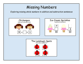 Missing Numbers - Exploring missing whole numbers in addition and subtraction